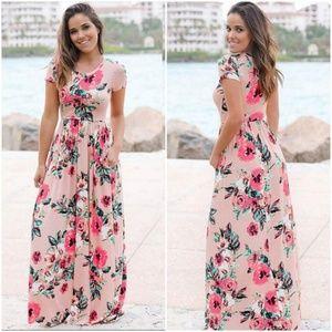 Women Floral Print Short Sleeve Long Dress